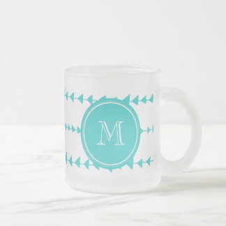 Aqua White Aztec Arrows Monogram Frosted Glass Coffee Mug