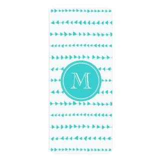 Aqua White Aztec Arrows Monogram 4x9.25 Paper Invitation Card