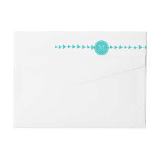 Aqua White Aztec Arrows Monogram Wrap Around Label