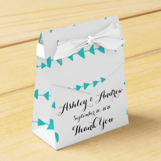 Aqua White Aztec Arrows Pattern Party Favor Boxes