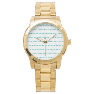 Aqua White Aztec Arrows Pattern Wrist Watches