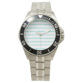 Aqua White Aztec Arrows Pattern Wristwatch