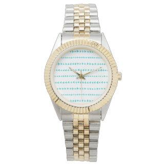 Aqua White Aztec Arrows Pattern Wristwatches