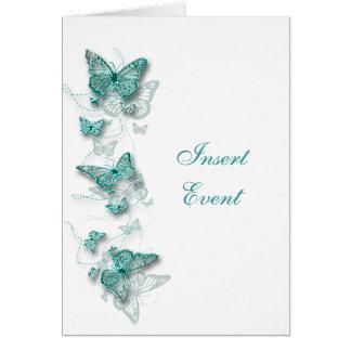 aqua white birthday engagement wedding CARD