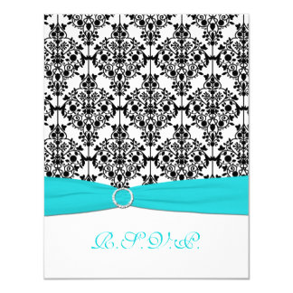 "Aqua, White, Black Damask II RSVP Card 4.25"" X 5.5"" Invitation Card"