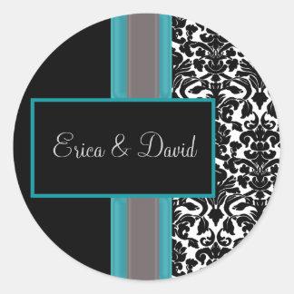 Aqua White Black Damask Wedding Invitations Classic Round Sticker