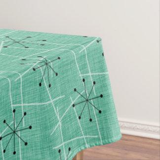 Aqua, White & Black Starbursts | Fifties Atomic Tablecloth