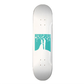 Aqua & White Bride and Groom Wedding Silhouettes Custom Skateboard