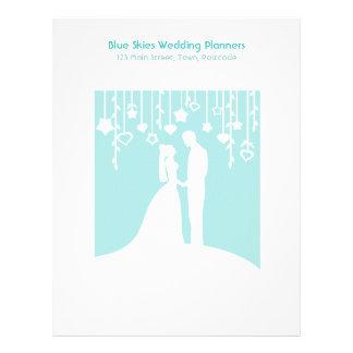 Aqua & White Bride and Groom Wedding Silhouettes Letterhead Template