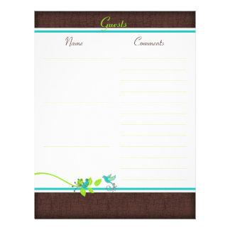Aqua, White, Brown, Green Birds Guest Book Paper