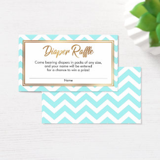 Aqua & White Chevron Diaper Raffle Cards