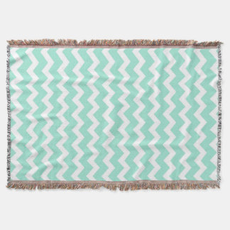Aqua White Chevron Pattern Throw Blanket