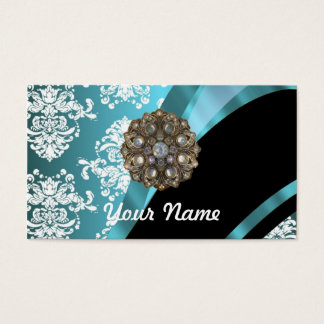 Aqua & white damask with faux crystal gem business card