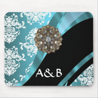 Aqua & white damask with faux crystal gem mouse pad