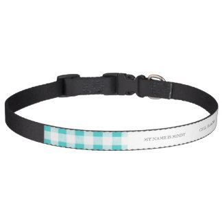 Aqua White Gingham Pattern Pet Collar