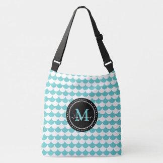 Aqua White Pattern Scales | Personalizable Crossbody Bag