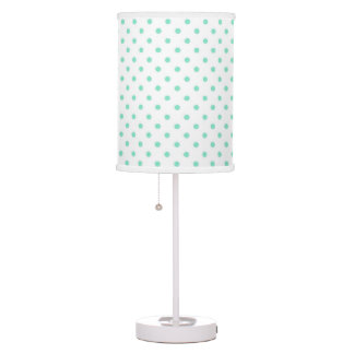 Aqua - White Polka Dot Lamp Shade