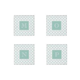 Aqua White Quatrefoil | Your Monogram Stone Magnet