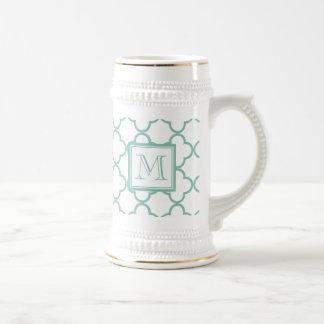 Aqua White Quatrefoil | Your Monogram 18 Oz Beer Stein