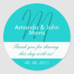 Aqua White Simple Initial Wedding Favour Thank You Round Sticker