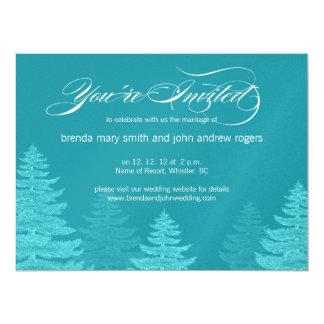 "Aqua White Spruce Trees Winter Wedding Invitation 6.5"" X 8.75"" Invitation Card"