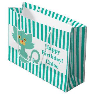 Aqua-White Stripe•Cat•Custom Large Gift Bag