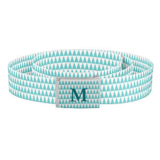 Aqua White Triangle Pattern Monogrammed
