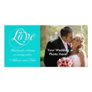 Aqua White Wedding Thank You Photo Card Template