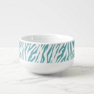 Aqua White Zebra Print Soup Mug