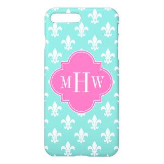 Aqua Wht Fleur de Lis Lt Hot Pink 3 Init Monogram iPhone 7 Plus Case