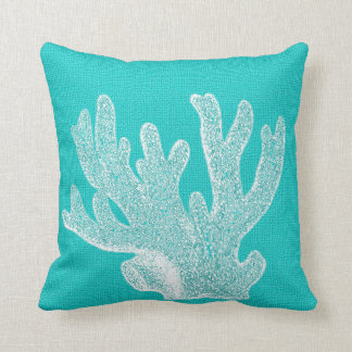 Aqua with White Coral Burlap Look Throw Pillow