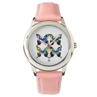 Aqua , Yellow  Monogram -  Elegant Butterflies Watch