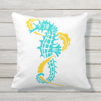 Aqua, yellow seahorse pattern summer reversible throw pillow