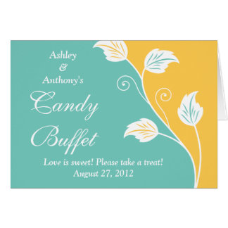 Aqua Yellow White Floral Wedding Candy Buffet Sign Card