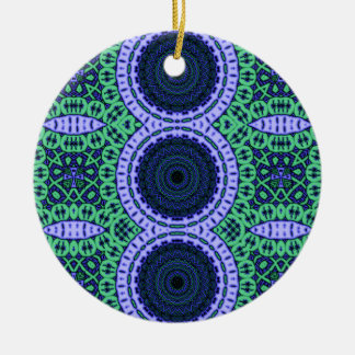 Aqua Zentangle Seahorse Kaliedescope Pattern Christmas Tree Ornament