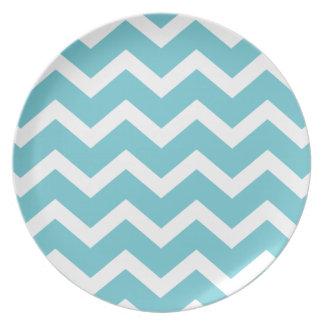 Aqua Zig Zag Chevrons Pattern Party Plates