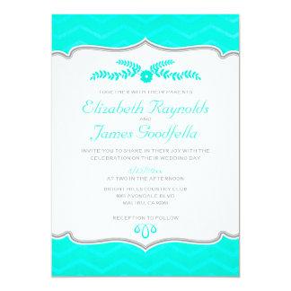 Aqua Zigzag Wedding Invitations