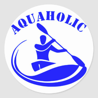 Aquaholic Kayak Guy Classic Round Sticker