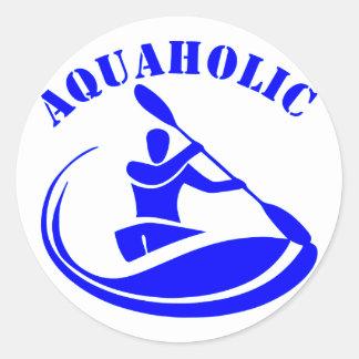 Aquaholic Kayak Guy Round Sticker