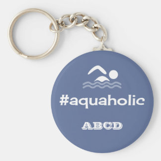 Aquaholic swimming slogan personalised initials basic round button keychain