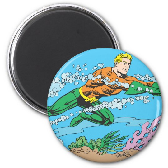 Aquaman Dashes Thru Water 2 Inch Round Magnet