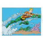 Aquaman Dashes Thru Water Greeting Card