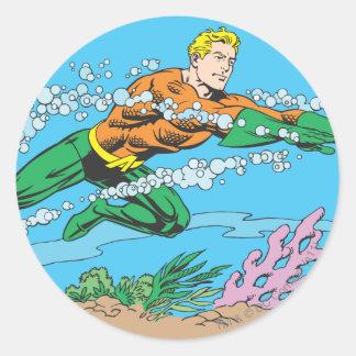Aquaman Dashes Thru Water Round Sticker