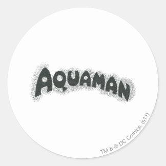 Aquaman Grunge Black Logo Round Sticker