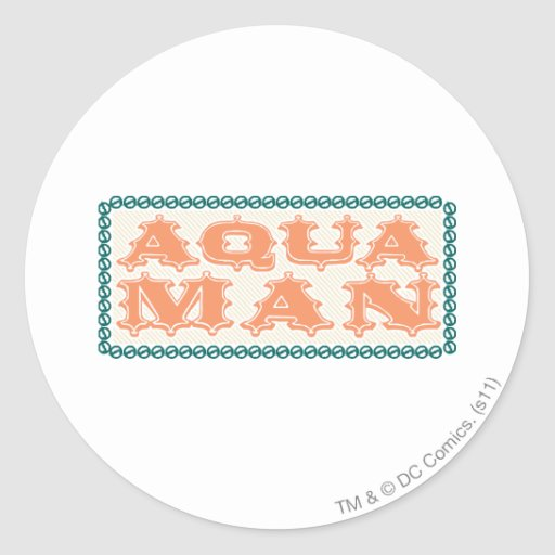 Aquaman It's Showtime! Letters Round Stickers