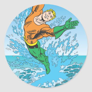Aquaman Jumps Out of Sea Round Sticker