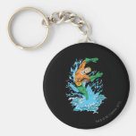 Aquaman Leaps in Wave Basic Round Button Keychain