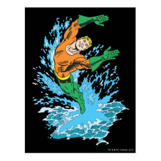 Aquaman Leaps in Wave Postcard