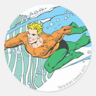 Aquaman Leaps Left Round Sticker