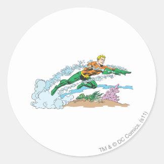 Aquaman Leaps Over Coral Round Sticker